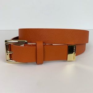 Michael Kora genuine leather orange and gold belt